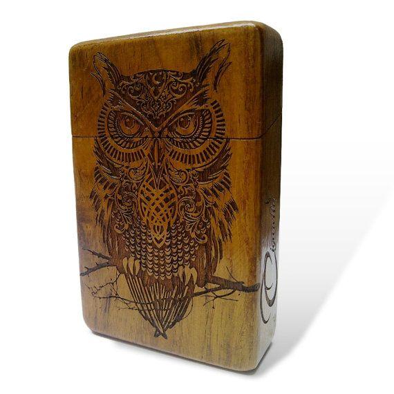 Owl Java Teak wood Cigarette Case