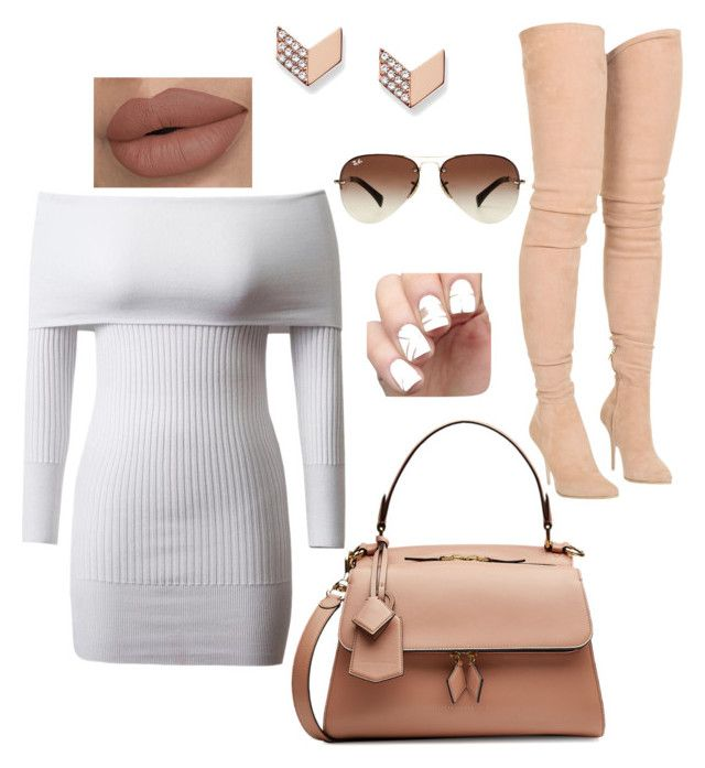 outing look by arohaawilliams on Polyvore featuring polyvore fashion style Balmain Victoria Beckham FOSSIL Ray-Ban clothing