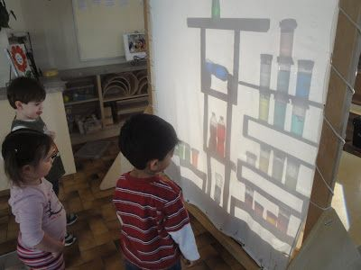 Shadow screen in the classroom - so easy and the kids love it.  Reggio inspired