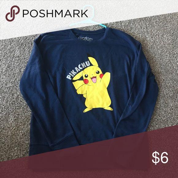 Pikachu Sweater Image of pikachu on a blue sweater Pokemon Tops