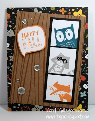 "teojax: ""Happy Fall"" woodland critters card, Swan Lake paper, Rustic Home Fundamentals, C1657 Woodland Critters, CTMH, Close to My Heart, Cricut Artistry cartridge"