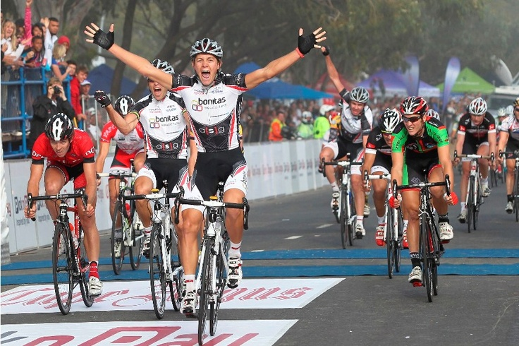 Tyler Day from Team Bonitas, winner of the 2011 Cape Argus Pick n Pay Cycle Tour, crosses the finish line