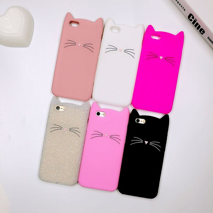 3D Fashion Cute Cartoon Animal Beard Cat Ears Cases For iPhone 5 5s Se 6 6s 6 Plus 7 7Plus Cover Soft Silicone Funda Capa Coque