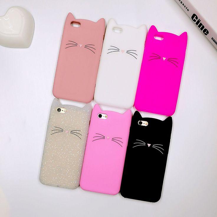 Moda 3d animal lindo de la historieta barba gato oídos casos para iphone 5 5s sí 6 6 s 6 Más 7 7 Plus Cubierta de Silicona Suave Funda Capa Coque