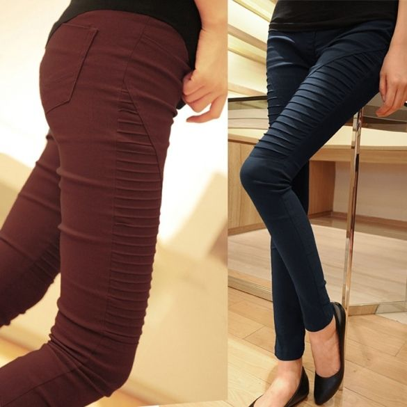 New Fashion Women's Pocket Elastic Leggings casual Pleated Trousers Pencil Pants Trousers