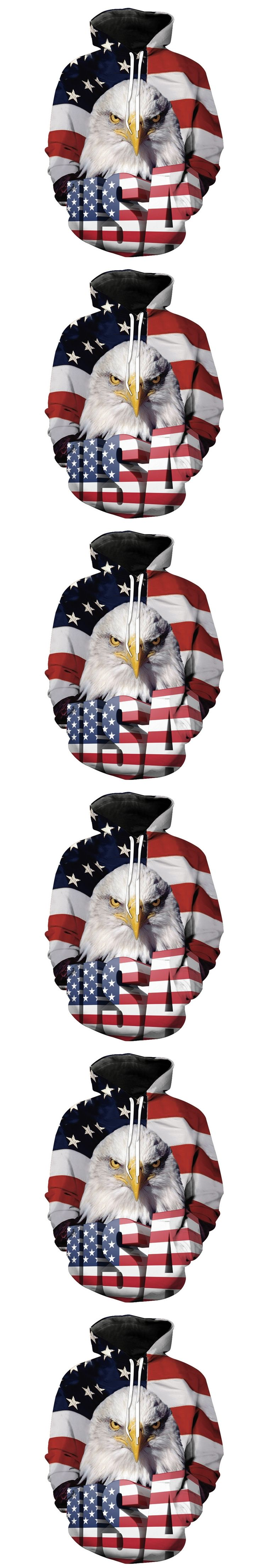 2017 NEW FASHION MEN AND WOMEN US flag Eagle HOODIE 3D Hoodie Sweatshirts Pullovers Autumn Tracksuit Winter Loose Thin Hoody