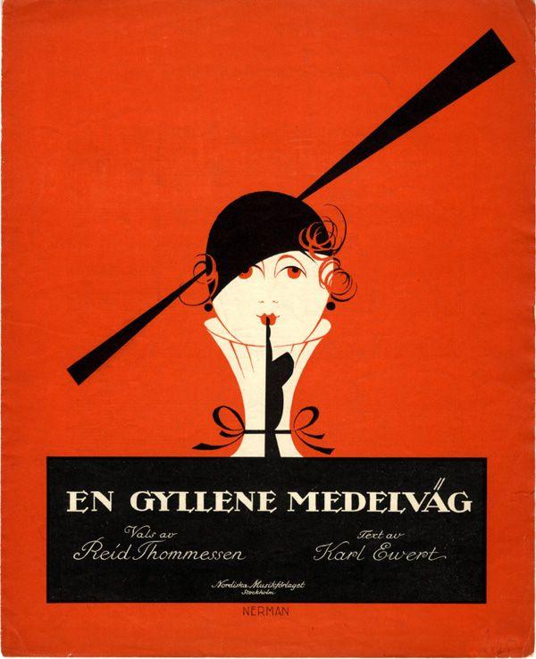 Illustrated sheet music cover for 'En gyllene medelväg' (A Happy Middle Way) (1919) by Swedish artist Einar Nerman (1888-1983). via 50 Watts