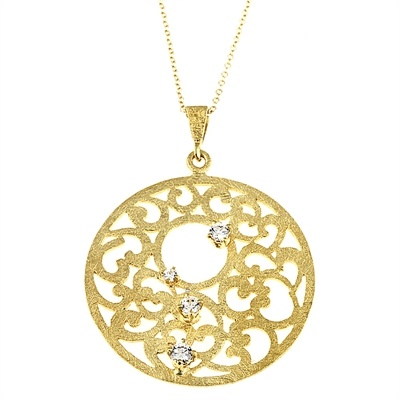 Wish Collection handmade pendant in 18K gold with diamonds
