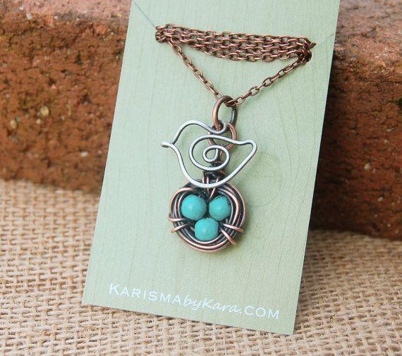 Bird Nest Necklace, Mama Bird. Oxidized Copper, Sterling Silver. Howlite Turquoise, Wire Jewelry