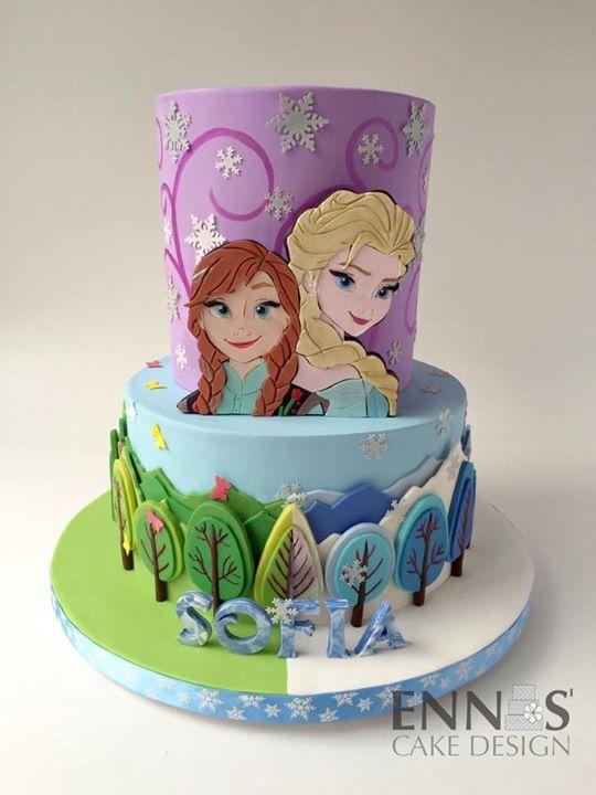 Frozen cake Elsa & Anna