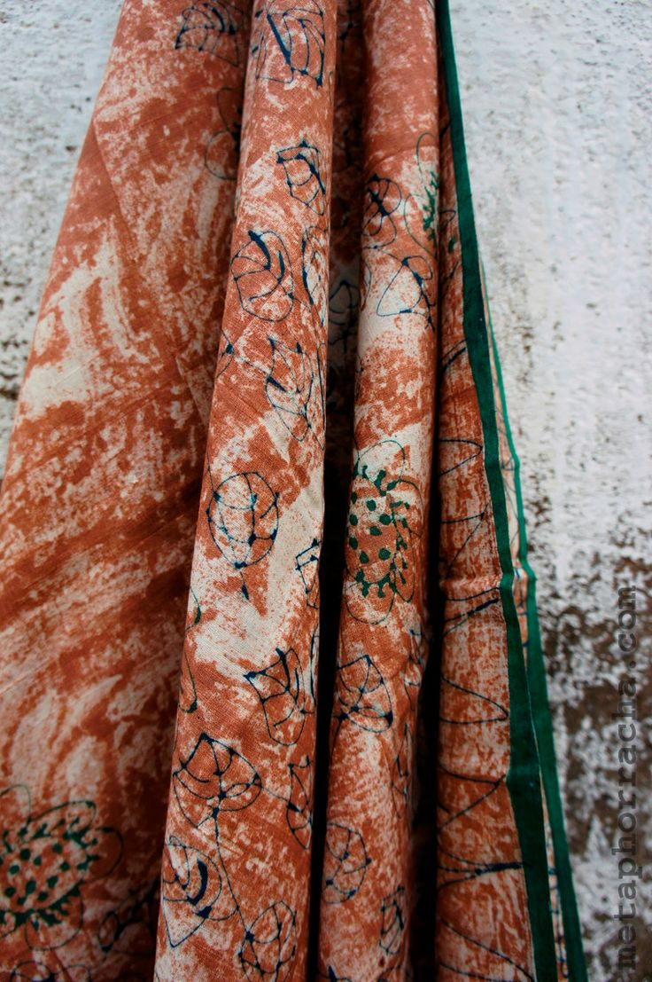 Hand block printed , home-spun and handwoven khadi saree . visit   www.metaphorracha.com