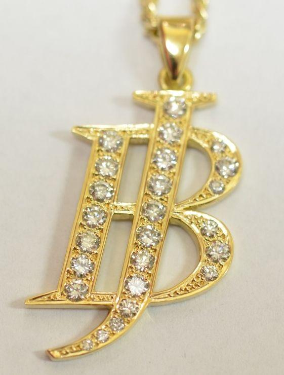 Personalised 9ct yellow gold diamond pendant