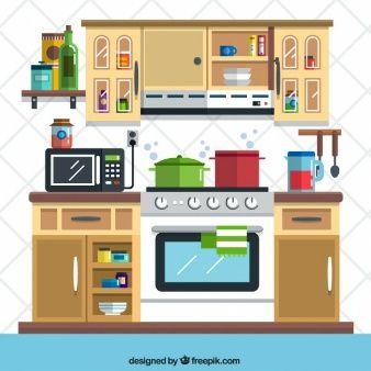 Flat kitchen illustration