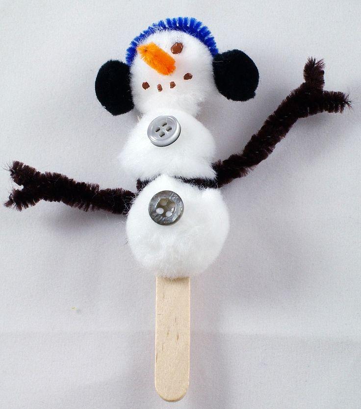 Cute winter craft activity. Little snowman.