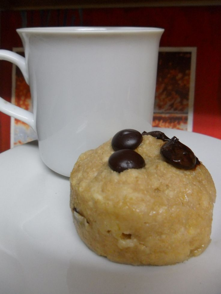 Chocolate-Chip Mug Muffin for One  -Healthy ingredients  -Bakes in less than two minutes!  -And tastes way better than a lot of the yucky, mug recipes floating around Pinterest