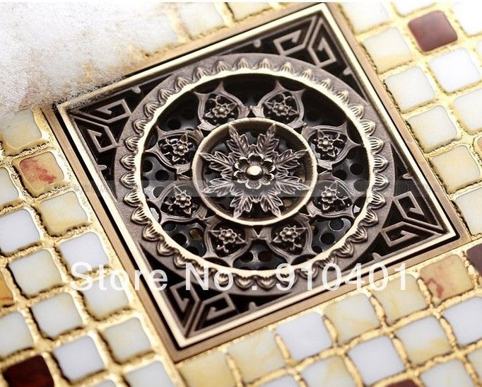 Free Shipping Wholesale And Retail Promotiom Euro Style Antique Brass Flower Carved Art Drain Bathroom Shower Waste Drainer-in Drains from Home Improvement on Aliexpress.com | Alibaba Group