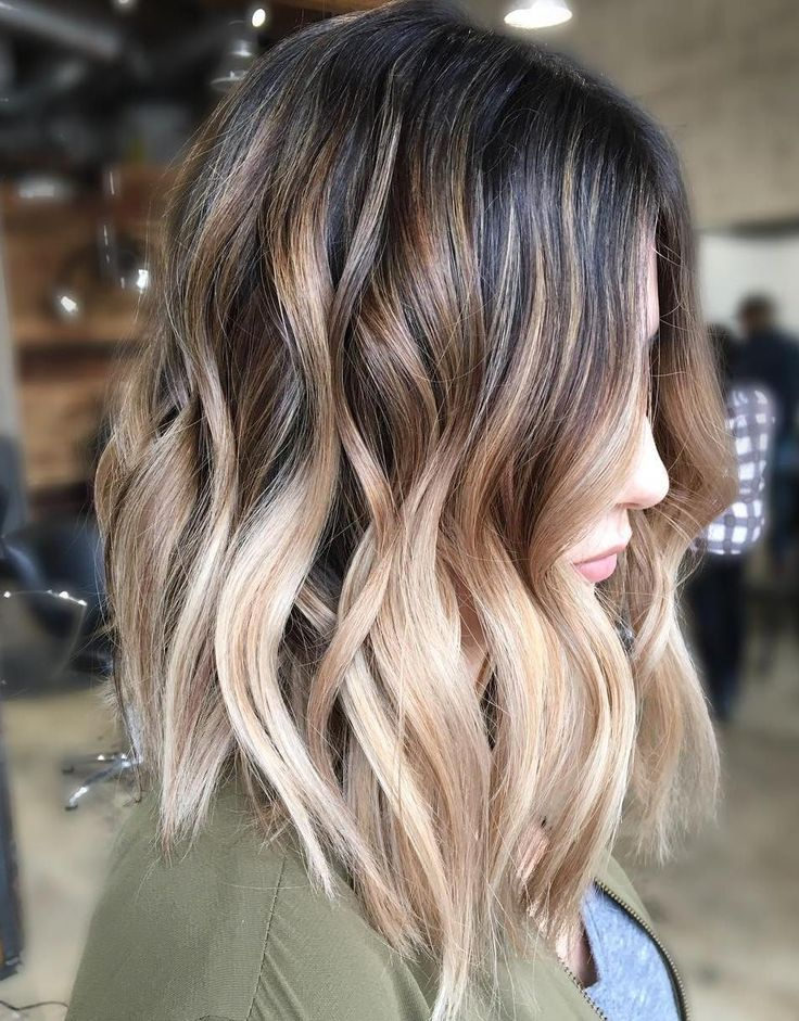 Long Bob with Beige Highlights
