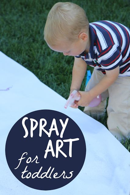 Spray Art for Toddlers from Toddler Approved!  Such a fun outdoor activity!