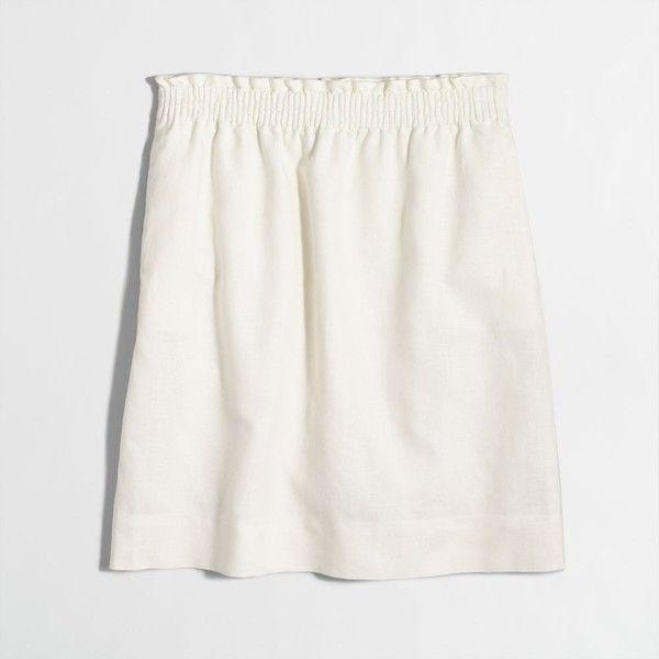 J.Crew Linen-cotton sidewalk mini skirt ($30) ❤ liked on Polyvore featuring skirts, mini skirts, white mini skirt, j crew skirts, white cotton mini skirt, white linen skirt and long cotton skirts