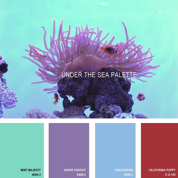 11 Beautiful Color Palettes Inspired ByNature — Under the Sea Palette (all paint is Behr) [I love Enchanting — pair with Par Four Green (& maybe Dragon Fruit) from the Spring Palette.]