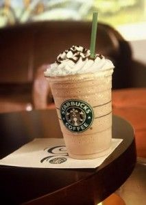 Starbucks Coffee Frappe. 18 -22 Ice cubes, crushed 7 ounces Double-strength coffee, chilled 2 tablespoons granulated sugar 2 tablespoons flavored syrup of choice (vanilla, hazelnut,-raspberry or other) Whipped cream, garnish Place the ice, coffee, sugar and syrup in a blender. Blend until the frappe is smooth. Pour into a large, tall glass. Garnish with a dollop of whipped cream. Kindly visit my site: www.onionringsandthings.com