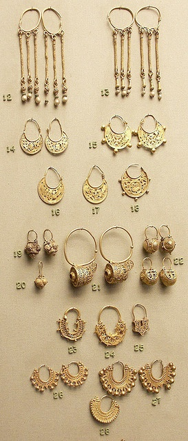 earrings, pairs and singles, gold, Byzantine by Atelier Sol, via Flickr