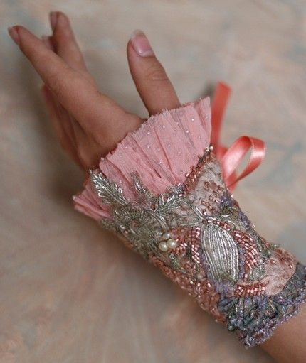 Petit Trianon---romantic wearable art cuff from vintage and antique laces, silk, brocade