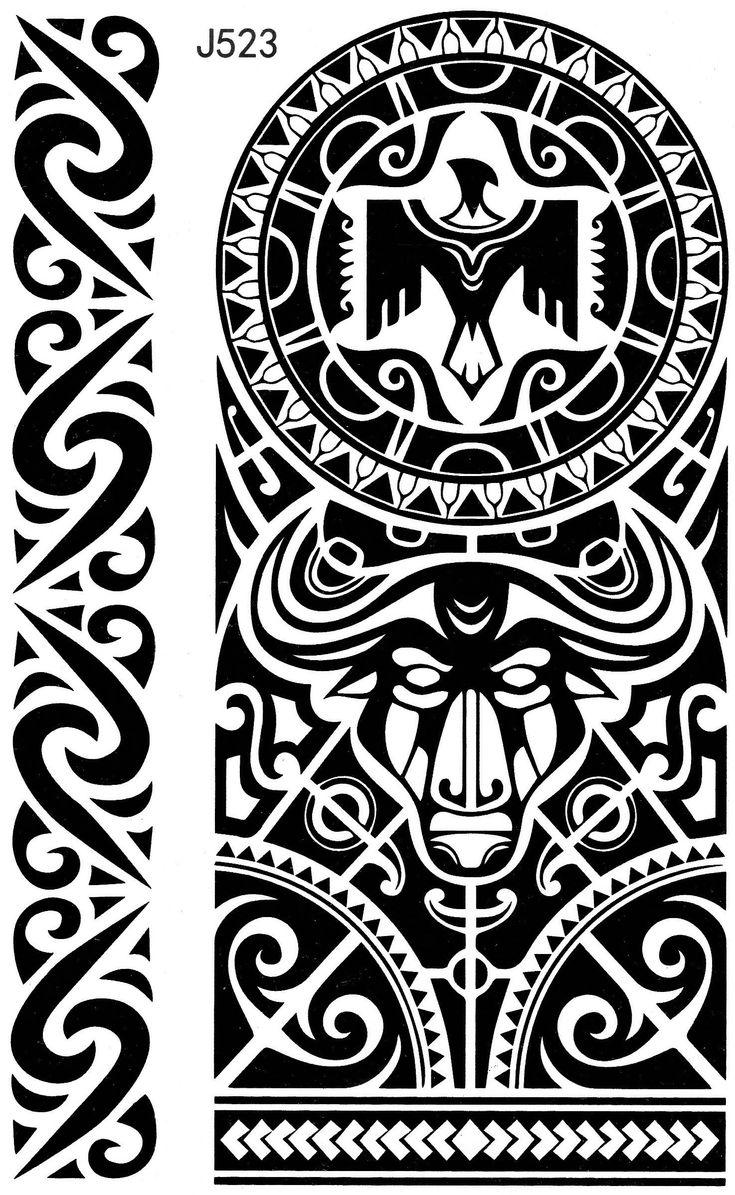 Maori Tribal Aztek Taurus Temporary Temporary Adhesive Fake Body Once Tattoo 15 x …   – Tribal Maori Temporary Tattoos