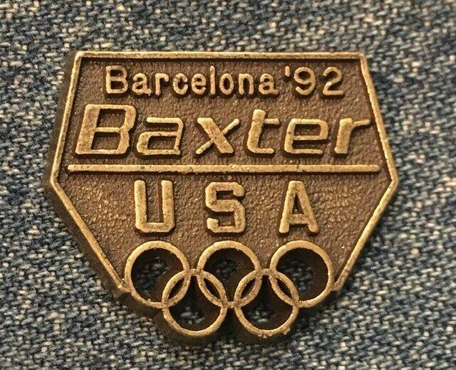 Olympic Pin ~ undated ~ 1992 Albertville /& Barcelona ~ USA Team Sponsor ~ Baxter