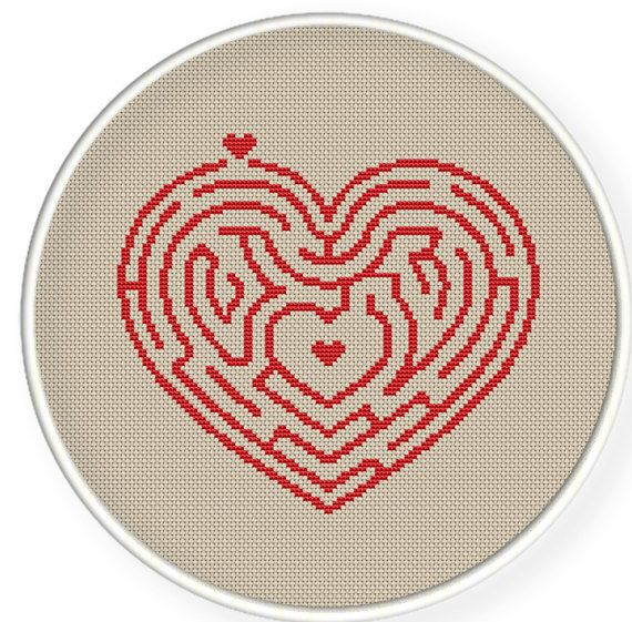 Buy 4 get 1 free ,Buy 6 get 2 free,Cross stitch pattern, Crossstitch PDF,heart maze, cross stitch pillow pattern,zxxc0195