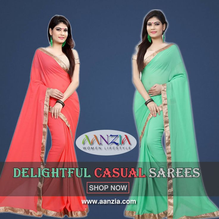 Buy plain sarees with simple border work. Get Flat 15% Off + Free Shipping + Cash on Delivery Shop @ Aanzia #designer #casual #party #festive #festival #formal #wear #saris #Chiffon #Georgette #sarees #online #low #price