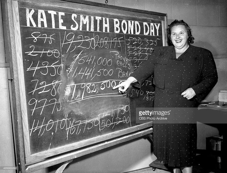 Kate Smith spends 21 hours on a CBS Radio war bond drive, helped raising $1,982,500 worth of pledges. New York, NY. Image dated October 6, 1942.