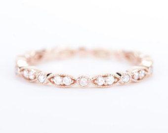CERTIFIÉ E-F VVS VS diamant & saphir rose demi-jonc 14K