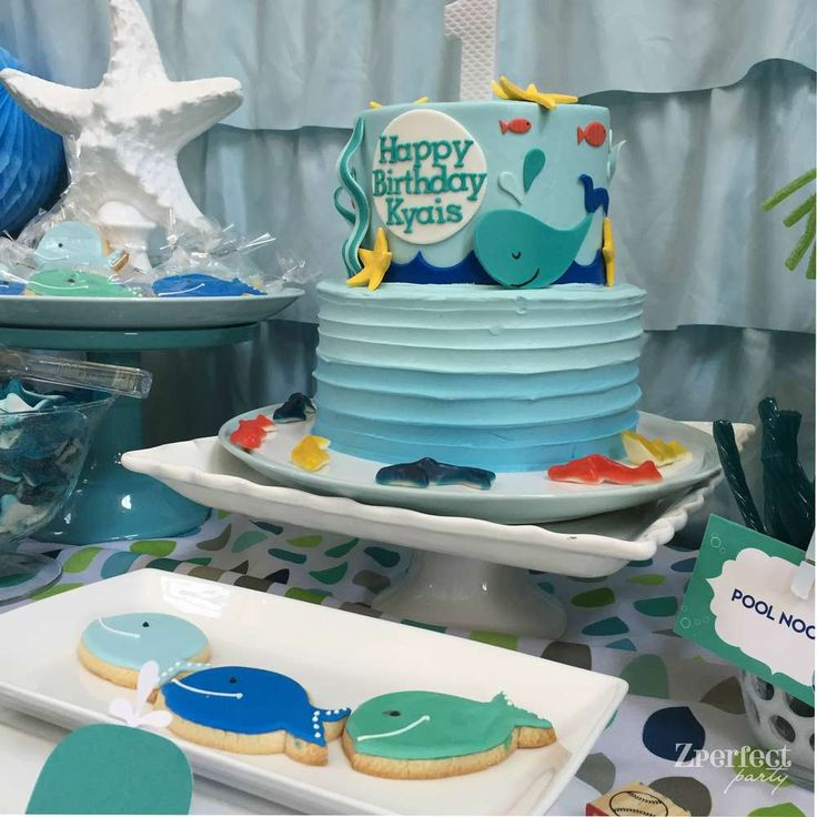Cool cake at a whale birthday party! See more party planning ideas at CatchMyParty.com!