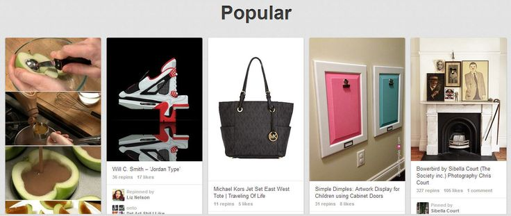 Pinterest Popular Section Screenshot