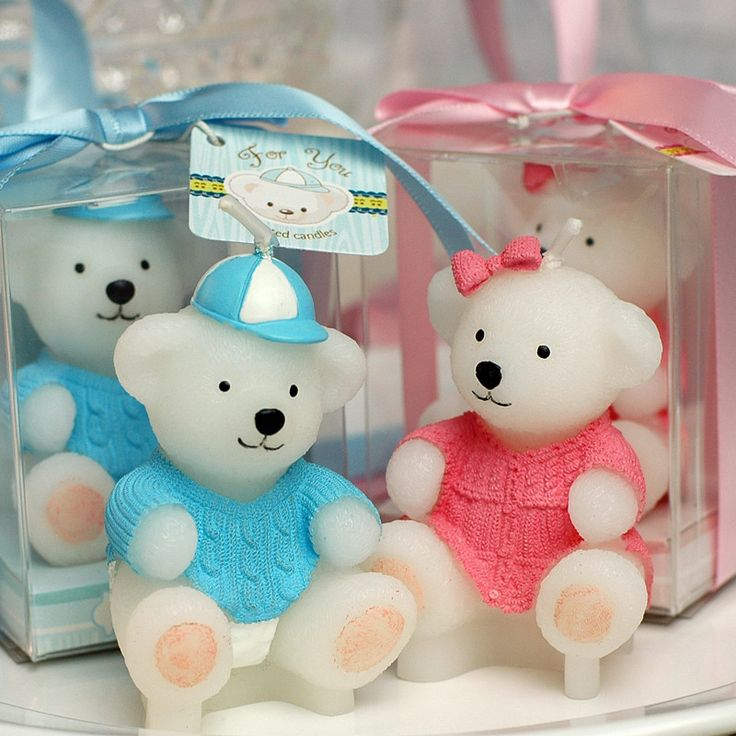 Find More Party Favors Information about Teddy bear smookless candle baby shower…