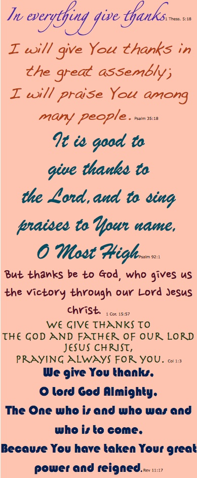 Of Such is the Kingdom: Give Thanks! Thanksgiving Verses