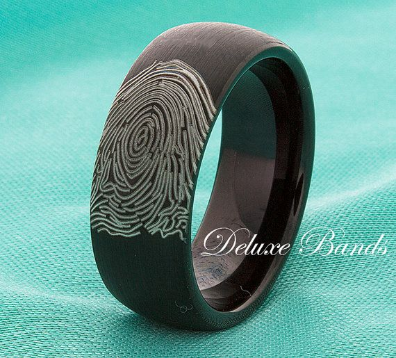 Fingerprint Black Tungsten Wedding Band Tungsten Wedding Ring Anniversary Ring Promise Mens Womens Black Ring Personalized 8mm Comfort Fit