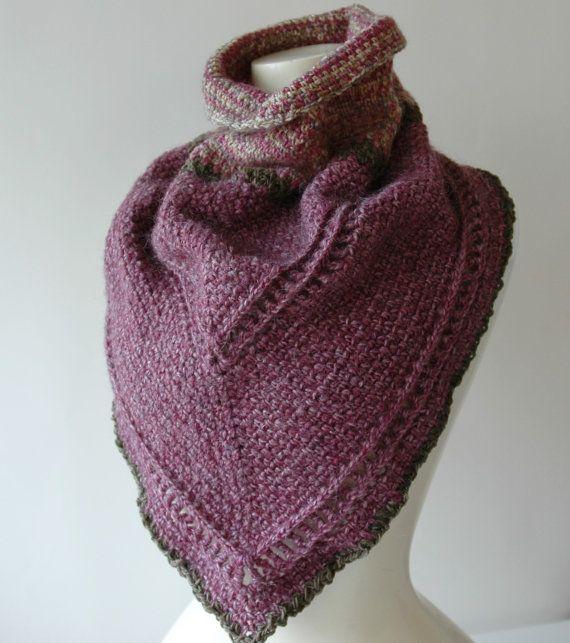 Crochet cowl scarf in purple handspun wool by KororaCrafters on Etsy