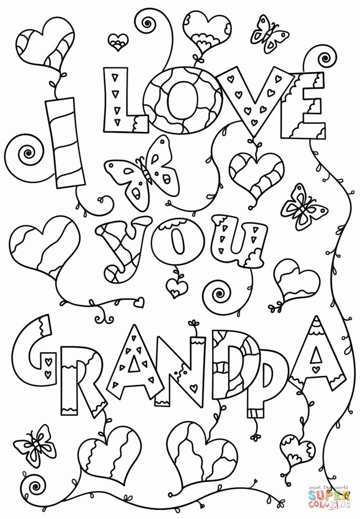 I Love You Coloring Sheets in 2020 | Fathers day coloring ...