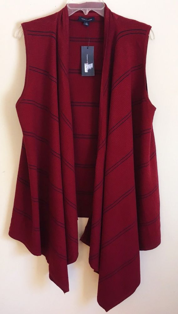 ed8f8fa0a3cac1 Tommy Hilfiger NEW Open Front Cardigan Top Draped Vest Burgundy Blue Stripe  XL #TommyHilfiger #Cardigan #Career