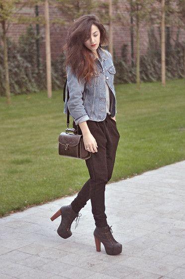 Levi's® Vintage Denim Jacket, Zara Black Sarouel, Jeffrey Campbell Black Leather Boots Lita, Vintage Leather Bag