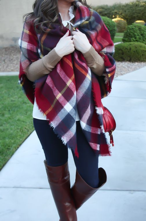 A Blanket Scarf/Poncho in Red and Navy Plaid… perfect for layering in fall!
