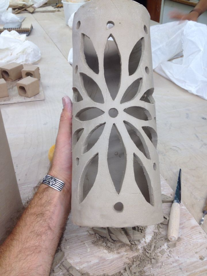 Another ceramic lantern i made slab rolled over a plastic