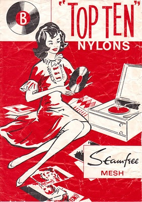 """Bear Brand stockings - """"Top Ten"""" // Records and nylons must've been a recurring theorem in 1950's marketing."""