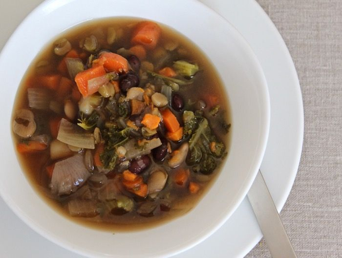 Kitchen scraps vegetable and bean soup - perfect to make at the end of the week with what's left in your fridge