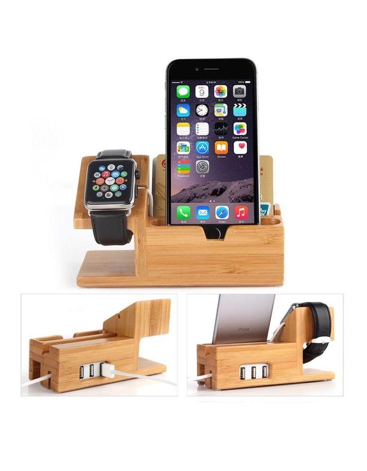 #1 2016 iDock Apple Watch And iPhone Bamboo Wood Charging Dock Station
