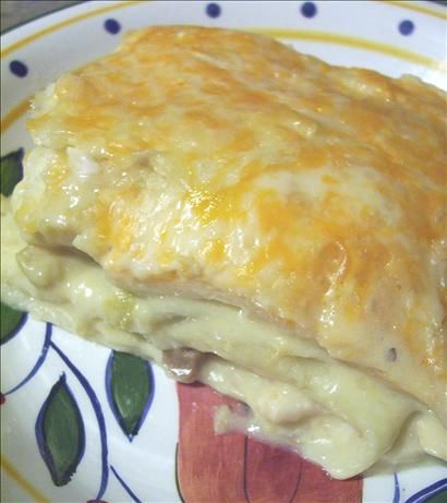 Chicken Enchilada Casserole from Food.com: This recipe appears by special request. Creamy chicken and green chilies I use the regular sized tortillas.. not the large ones.I overlap the tortillas to make the layer. I make it up in an oblong serving dish, I think it is about a 9 1/2 inch by 11 inch pan. But any size you would put 1 full cake mix into will work well . I love this recipe.