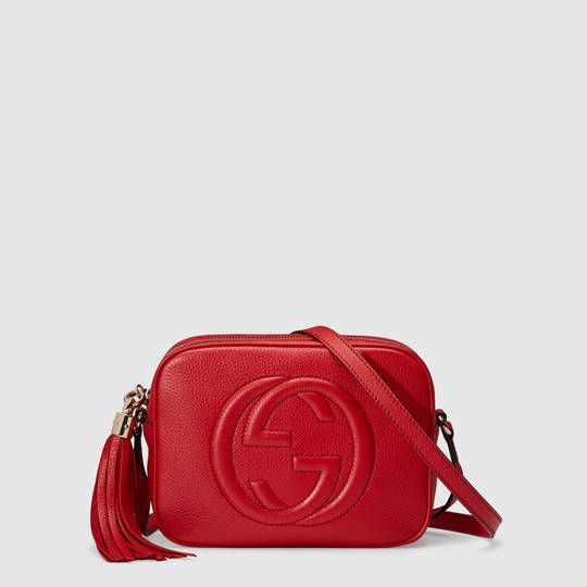 Gucci Soho Leather Disco Bag in red leather
