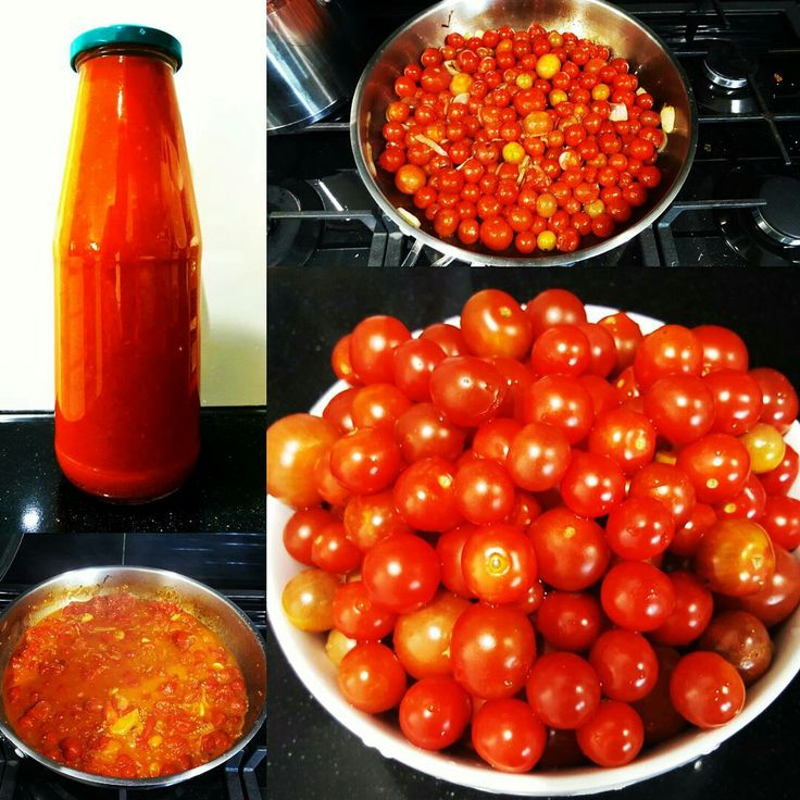 Home grown cherry tomato passata.  Fry onions + garlic til brown. Add tomatoes + fresh herbs + salt. Cook til peel falls off tomatoes. Blitz in nutri bullet and bam.